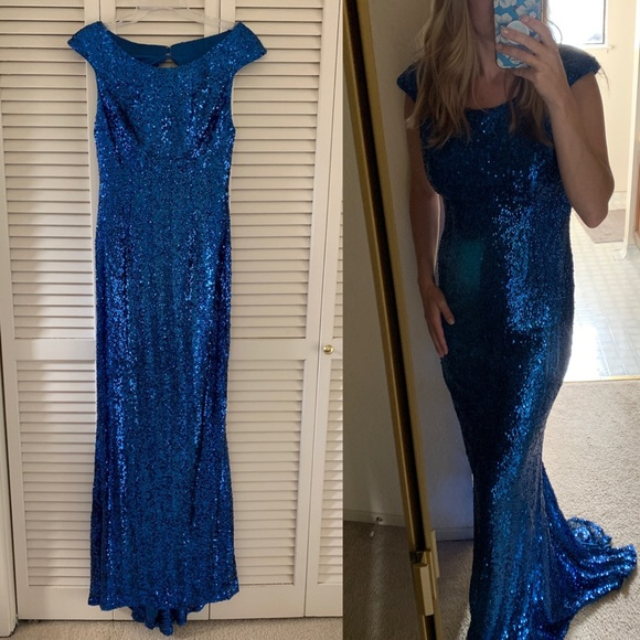 Faviana Dresses & Skirts - Sz 10 Faviana Glamour Blue Sequin Open Back Gown